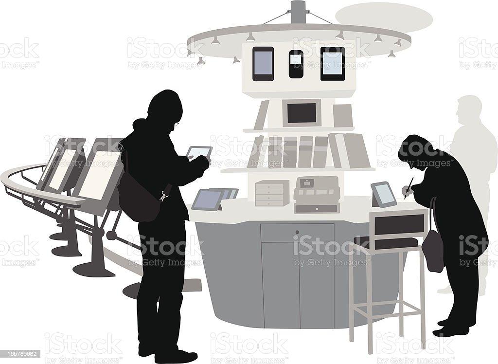 Tablet Crazy Vector Silhouette vector art illustration