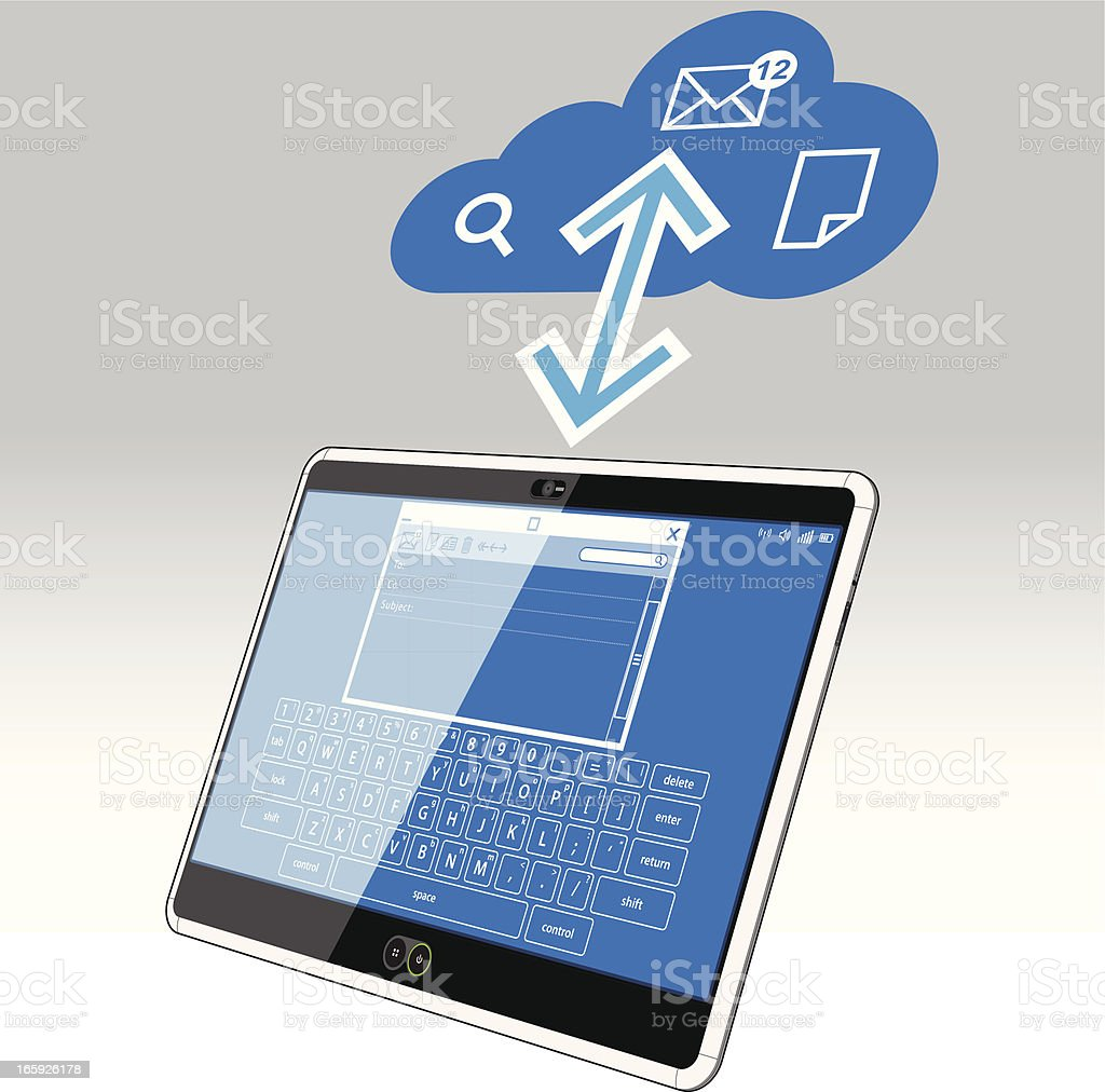PC Tablet, Email and the Data Cloud royalty-free stock vector art
