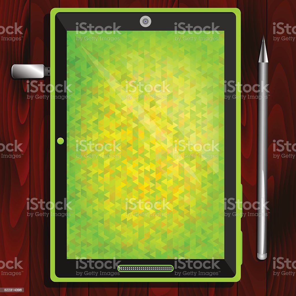 Tablet, flash drive, pen on the table vector art illustration
