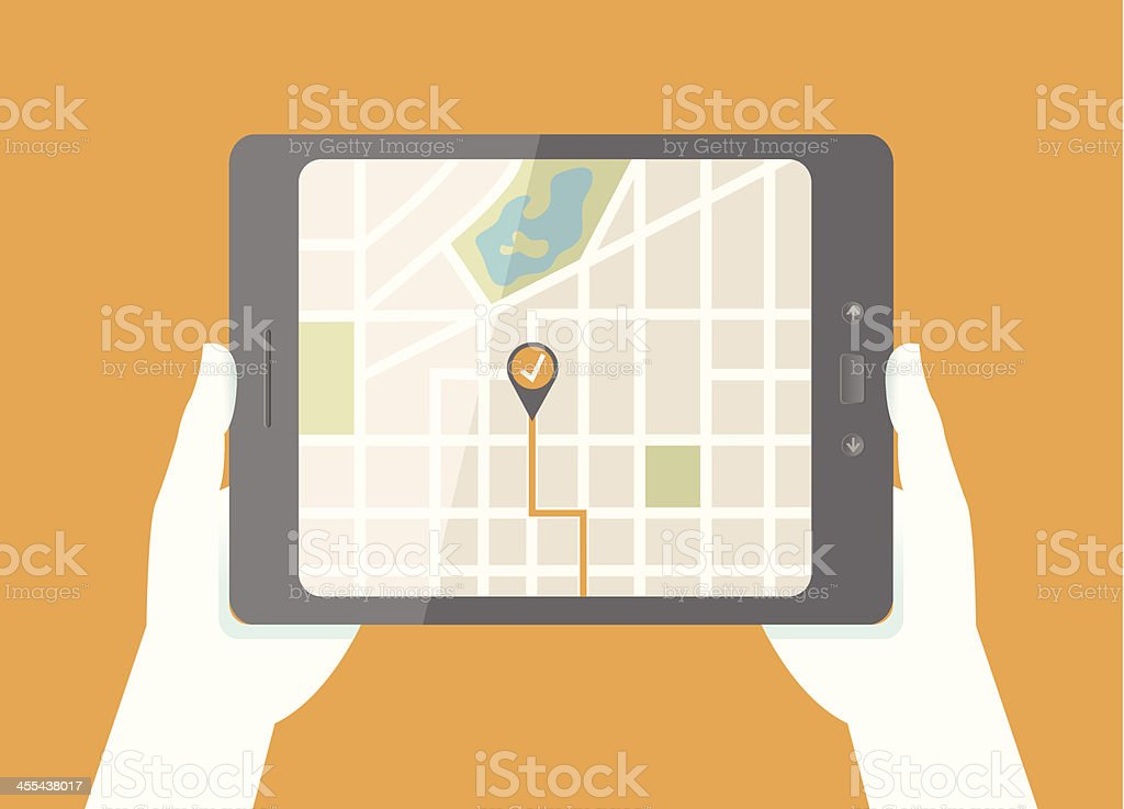Tablet GPS Map vector art illustration