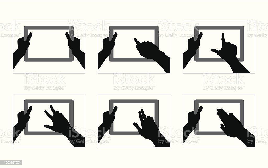 Tablet Hand Gestures vector art illustration