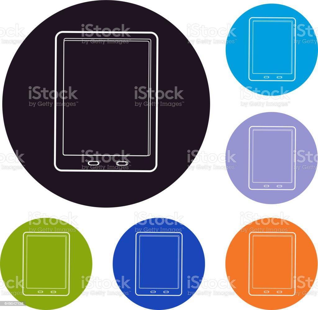 Tablet icon set vector art illustration