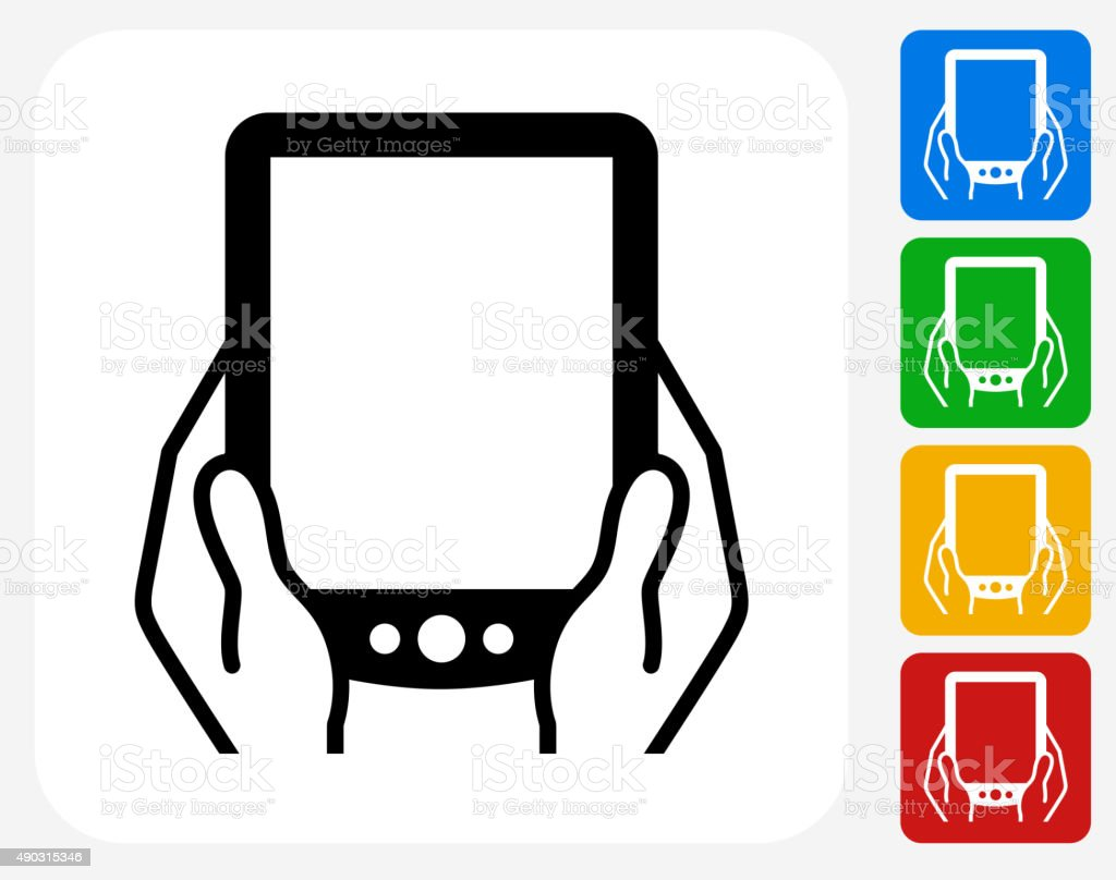 Tablet in Hands Icon Flat Graphic Design vector art illustration