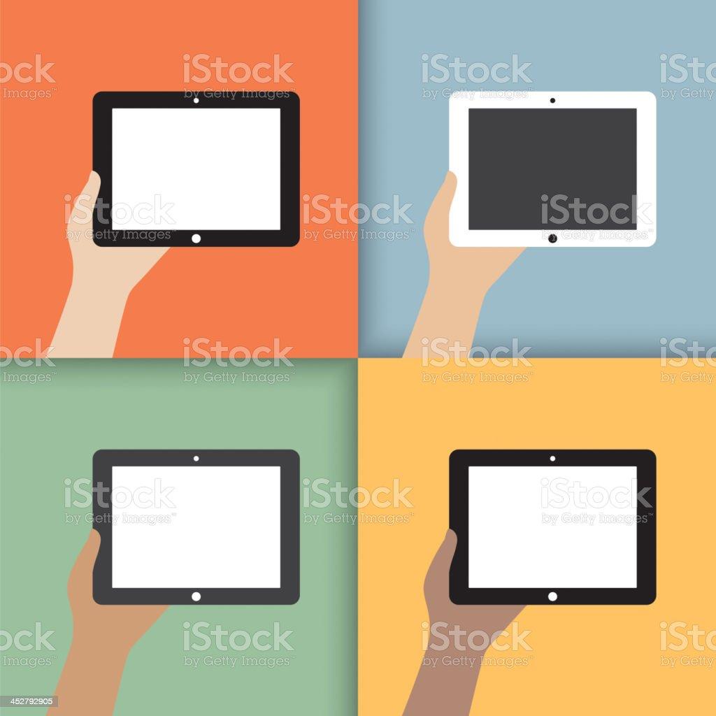 tablet in hands royalty-free stock vector art