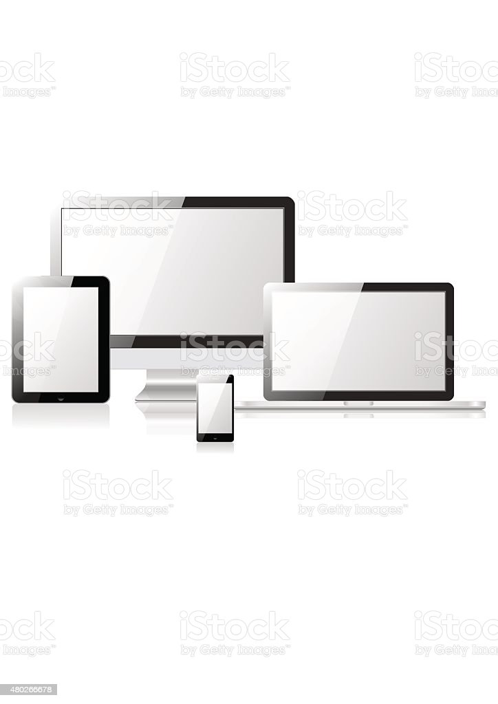 Tablet laptop phone monitor vector art illustration