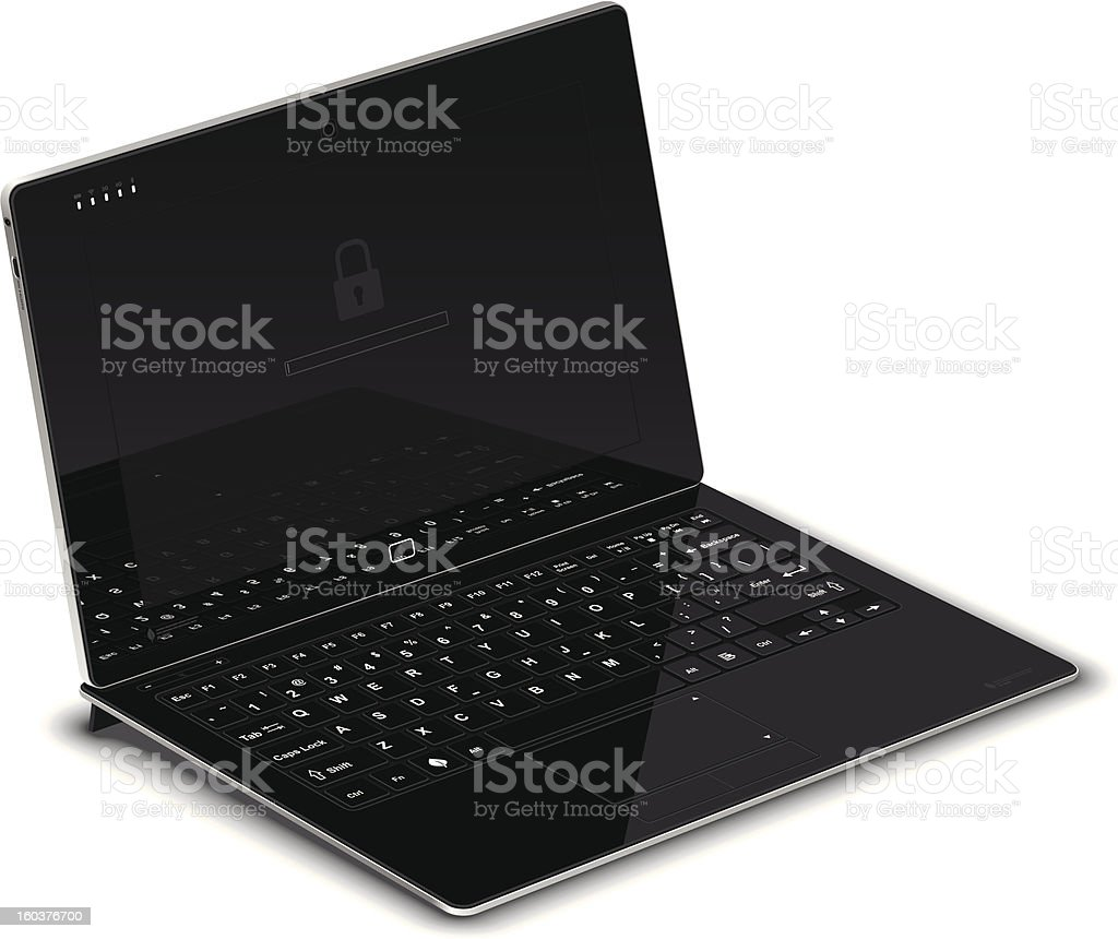 PC Tablet Left Side View with Keyboard Dock royalty-free stock vector art