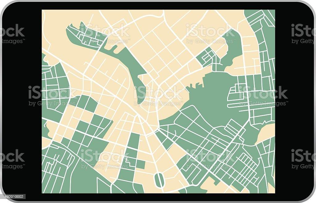 tablet map vector art illustration
