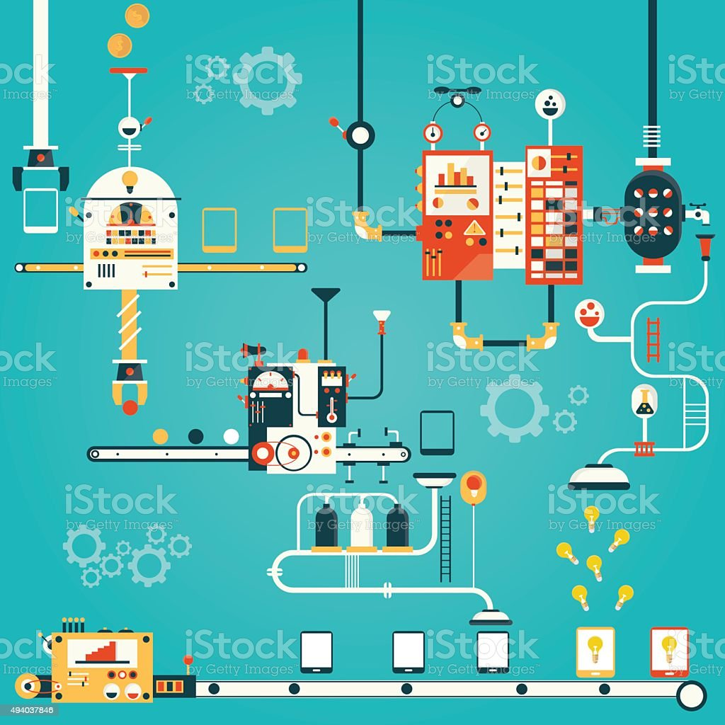 Tablet mobile pc manufacturing. vector art illustration