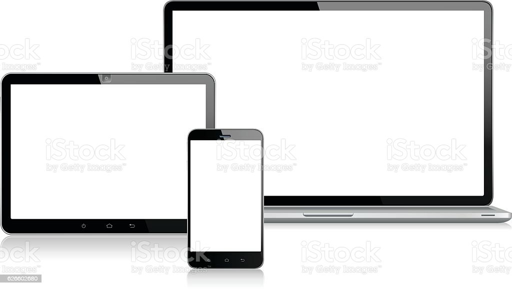 Tablet, Mobile Phone and Laptop vector art illustration