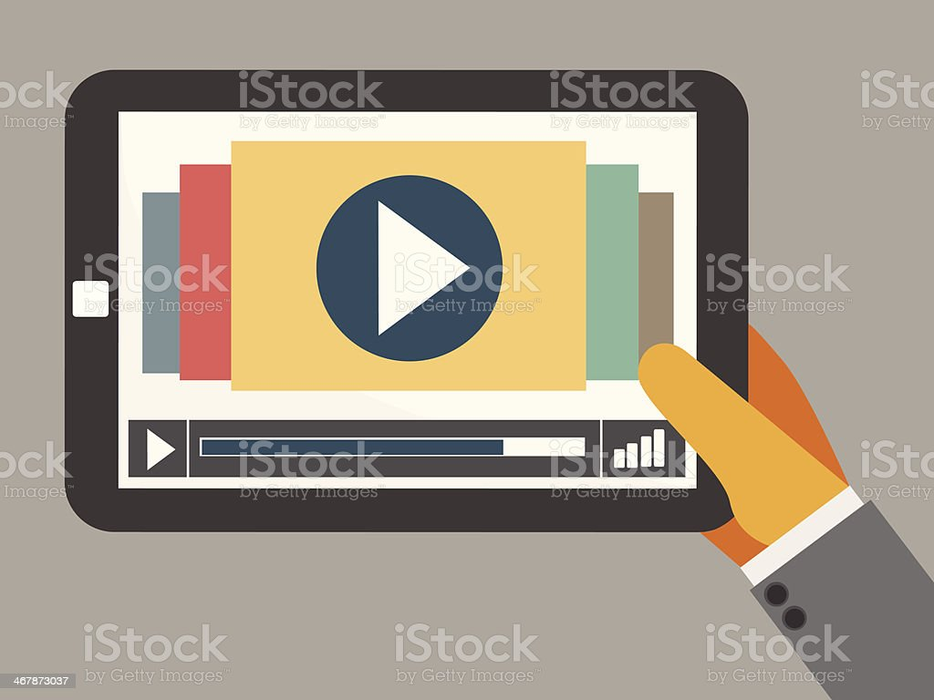 tablet on the hand with video player vector art illustration
