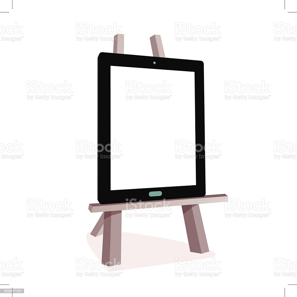 Tablet on the wooden easel royalty-free stock vector art
