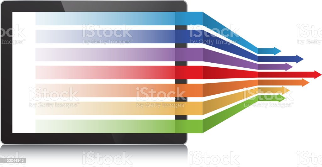 Tablet pc and arrows royalty-free stock vector art