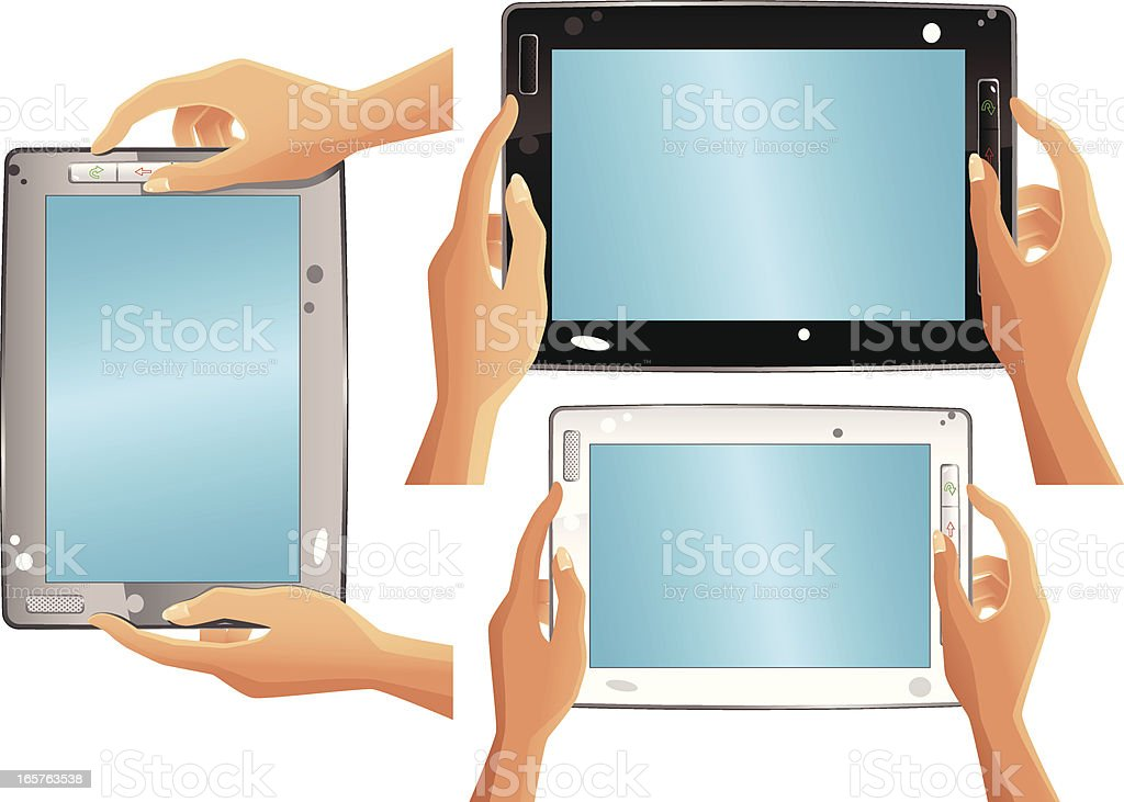 Tablet PC and hands royalty-free stock vector art