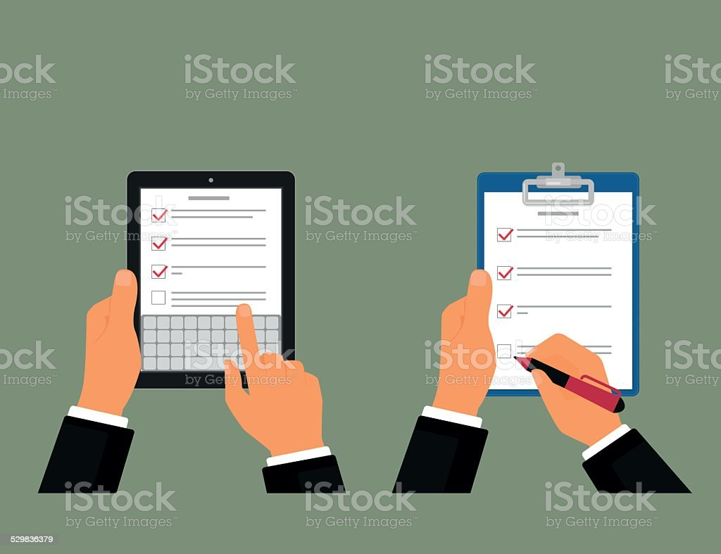 Tablet pc and notepad with task list vector art illustration
