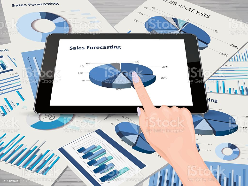 Tablet pc and reports vector art illustration