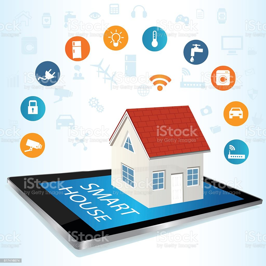 Tablet PC and Smart House technology system with centralized control vector art illustration
