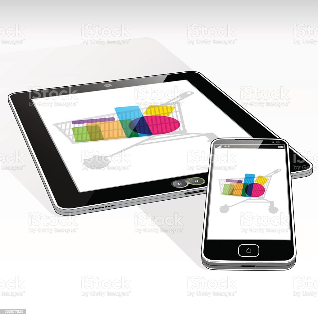 Tablet PC and SmartPhone online retail vector art illustration