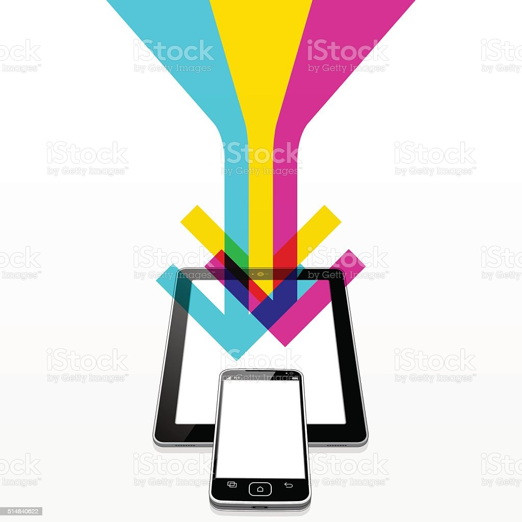 Tablet PC and SmartPhone WWW Download vector art illustration