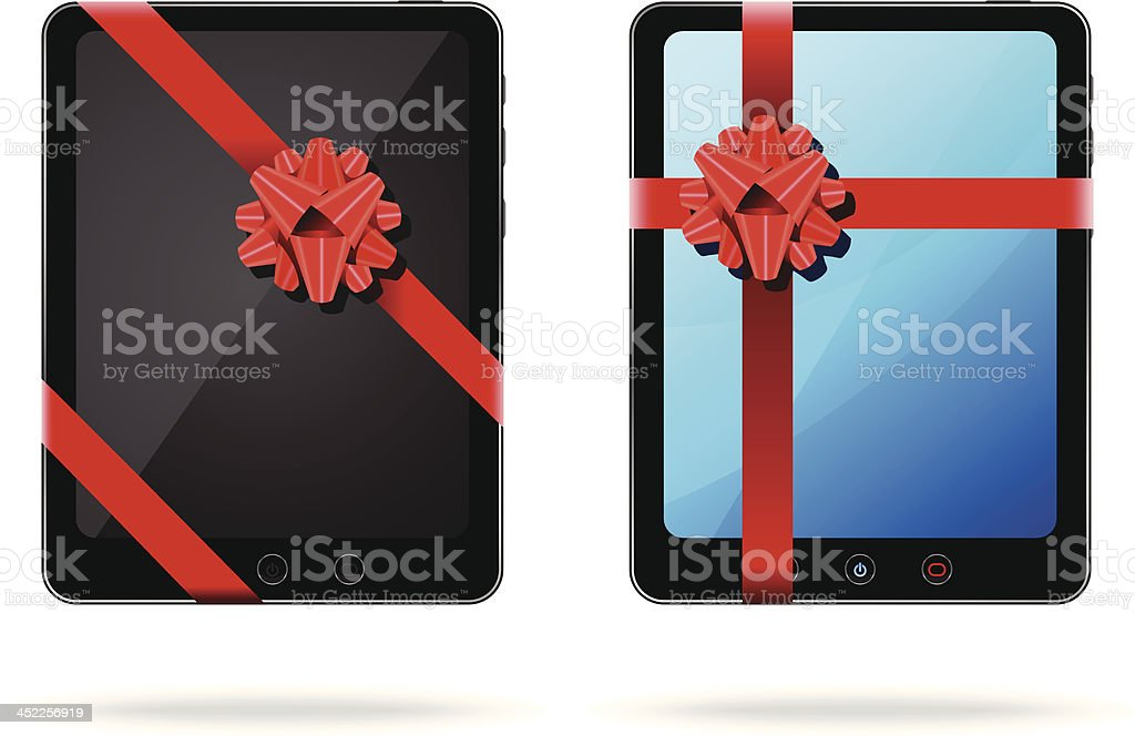 Tablet PC as a Gift royalty-free stock vector art