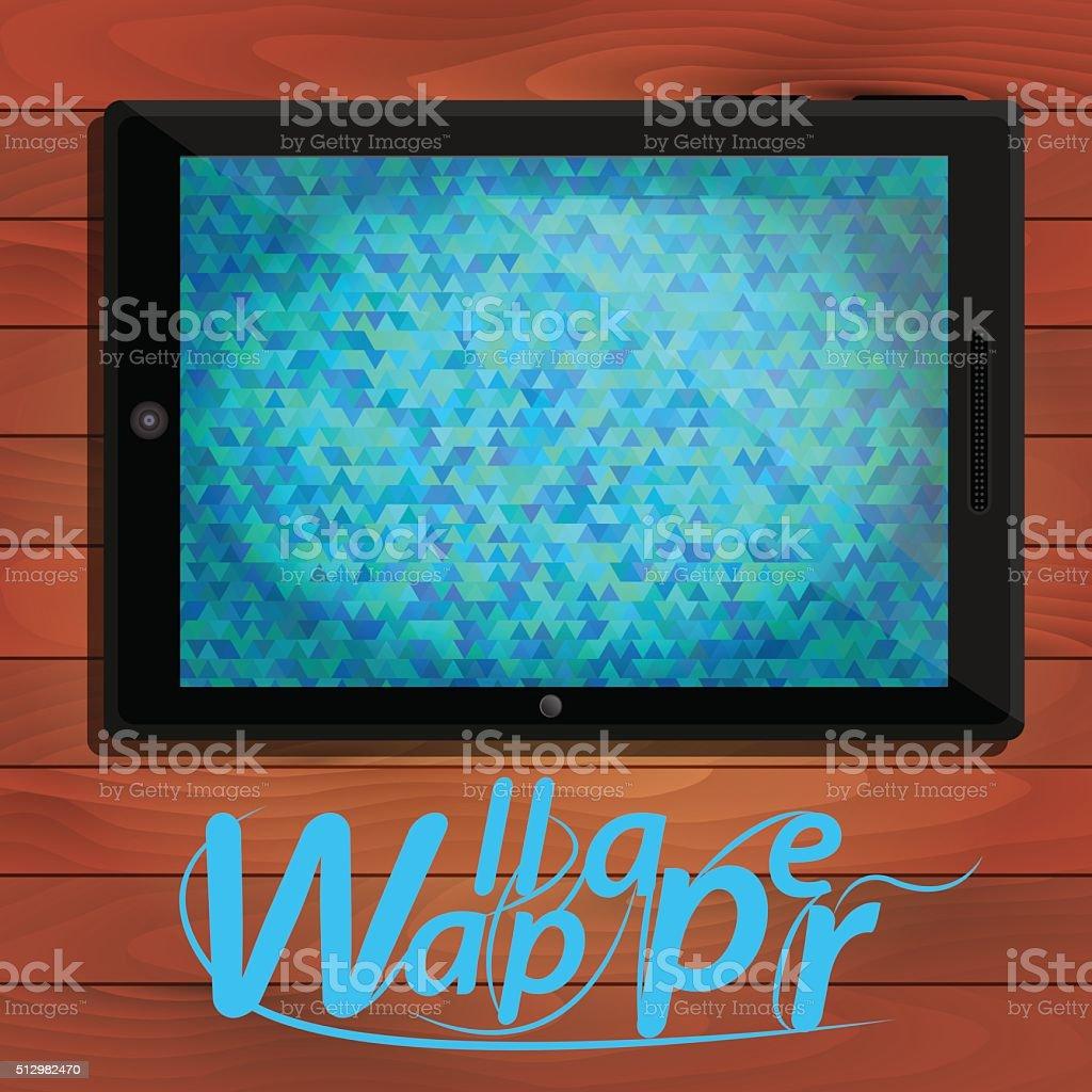 Tablet PC, blue polygonal background vector art illustration