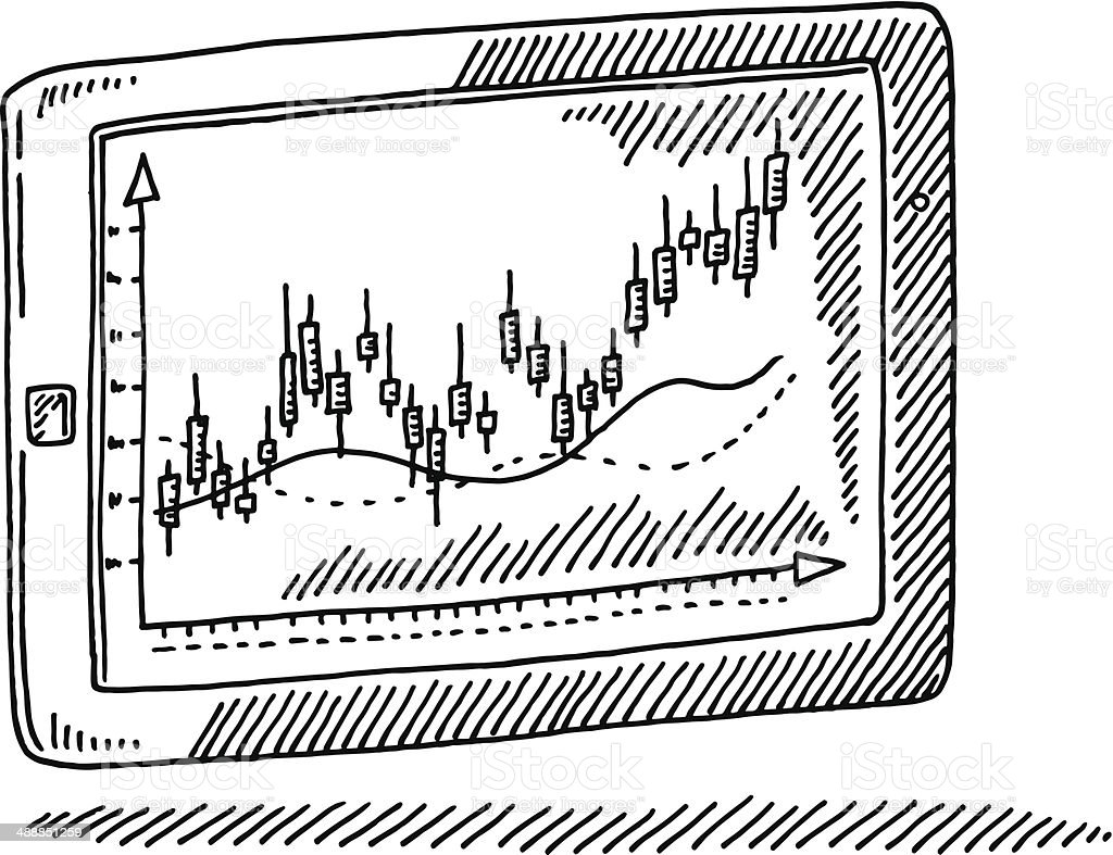 Tablet PC Candlestick Chart Drawing vector art illustration