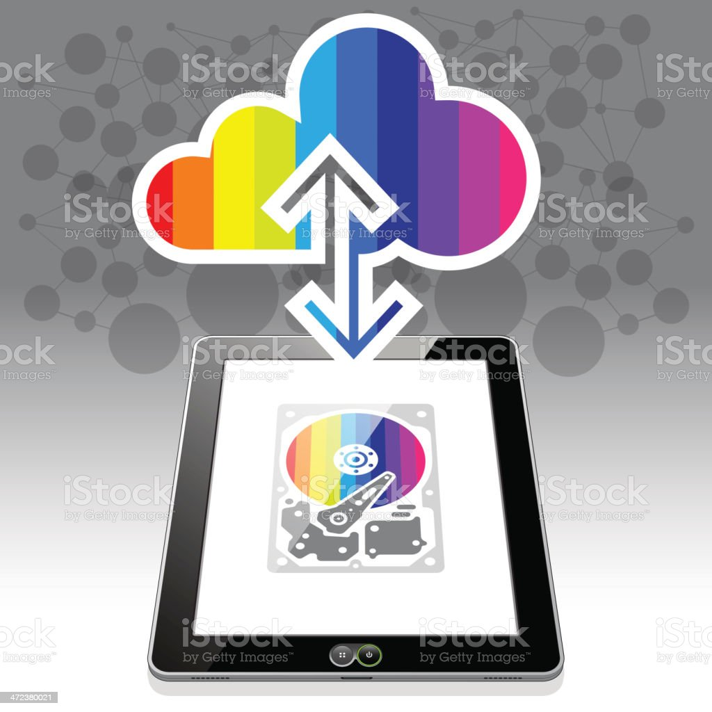 Tablet PC CloudSync royalty-free stock vector art
