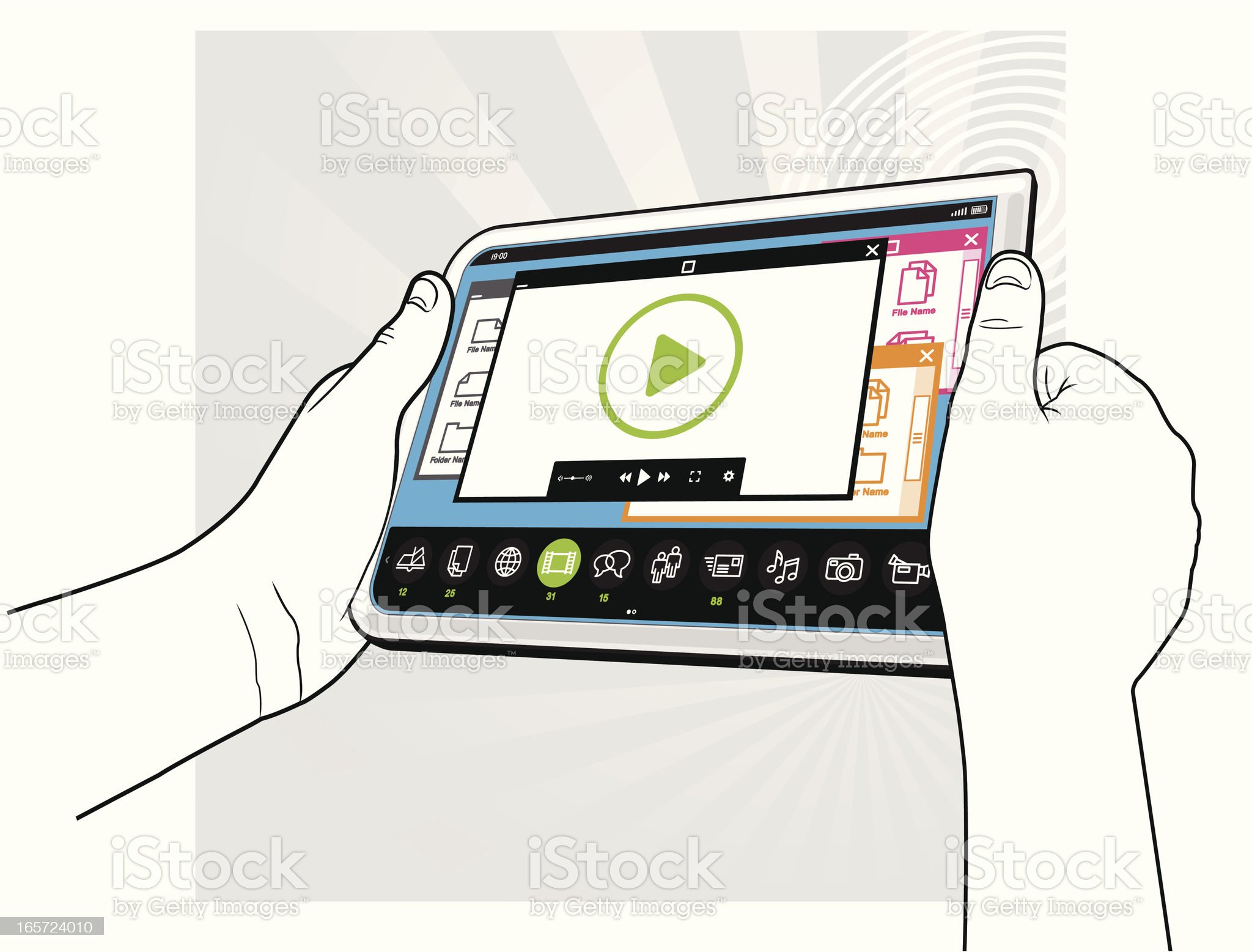 Tablet  PC Computer - Viewing Video Concept royalty-free stock vector art