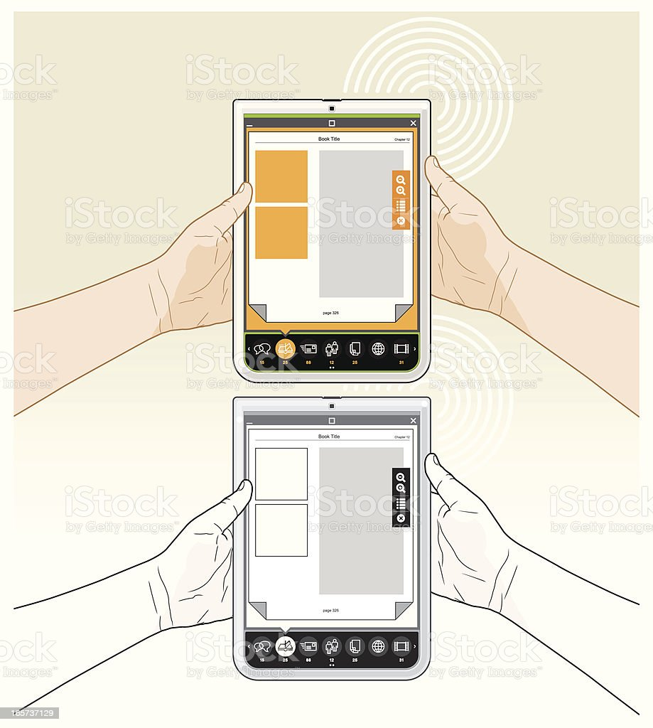 Tablet PC eBook reading - Vertical Front View royalty-free stock vector art