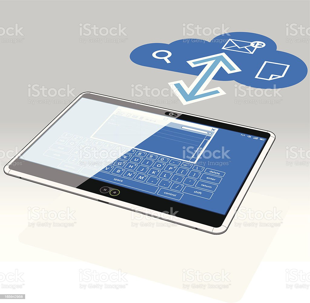 Tablet PC, Email and the Data Cloud royalty-free stock vector art