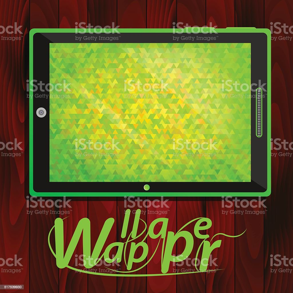 Tablet PC, green background of triangles vector art illustration