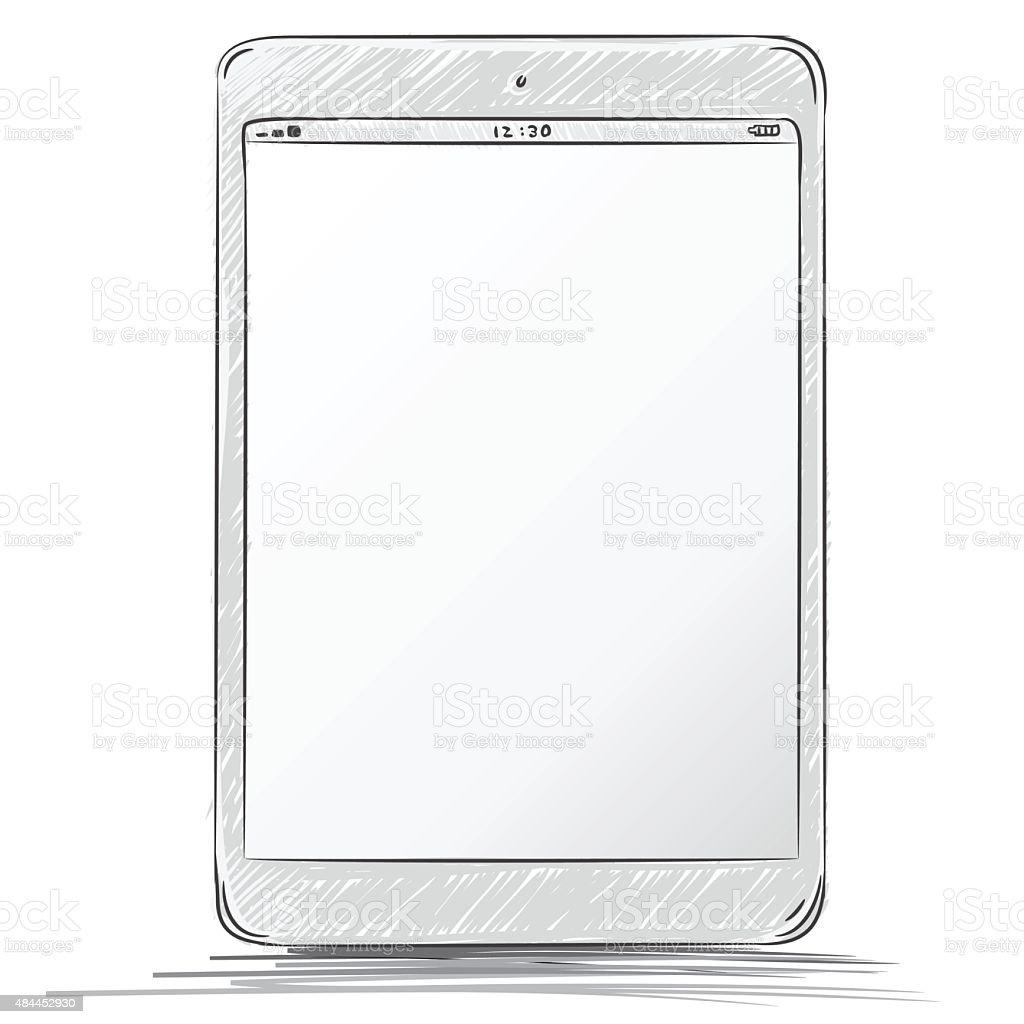 Tablet PC Hand Drawn Vector Illustration. vector art illustration