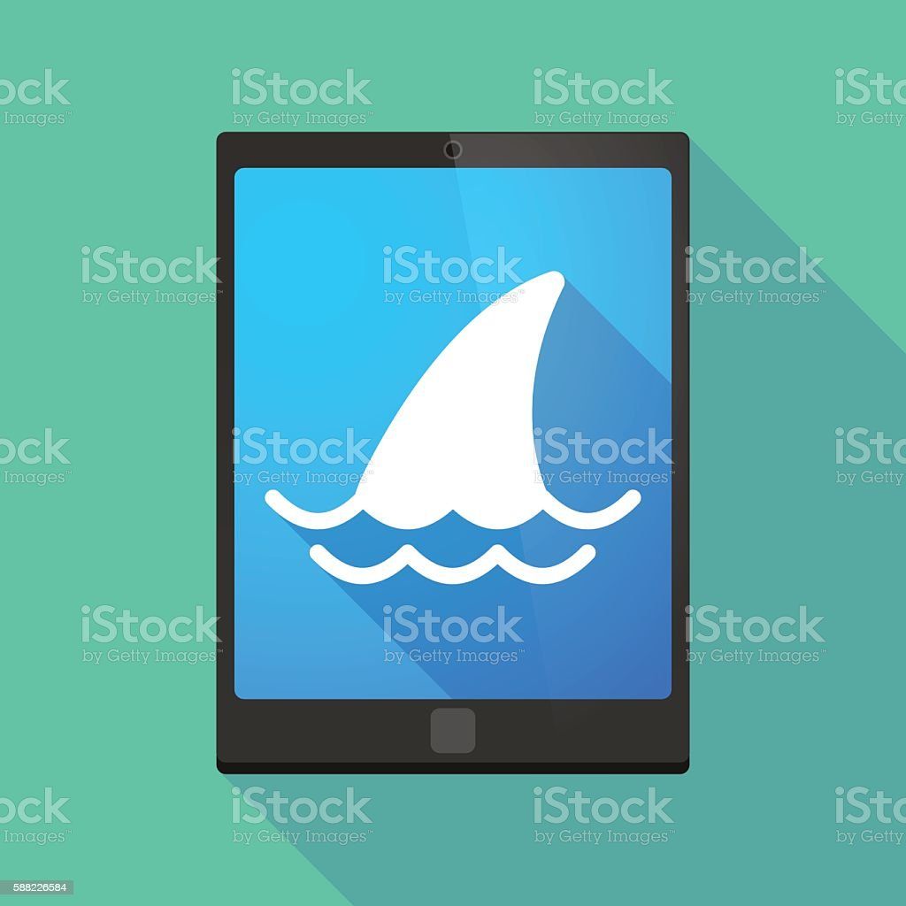 Tablet pc icon with a shark fin vector art illustration