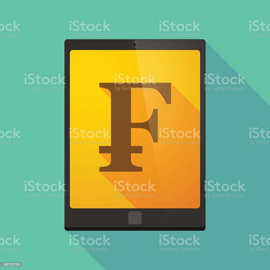 Tablet pc icon with a swiss franc sign vector art illustration
