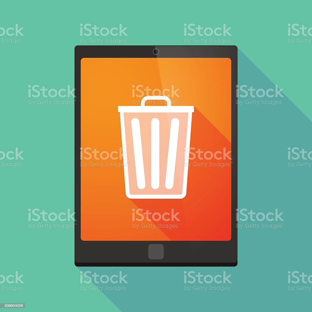 Tablet pc icon with a trash can vector art illustration