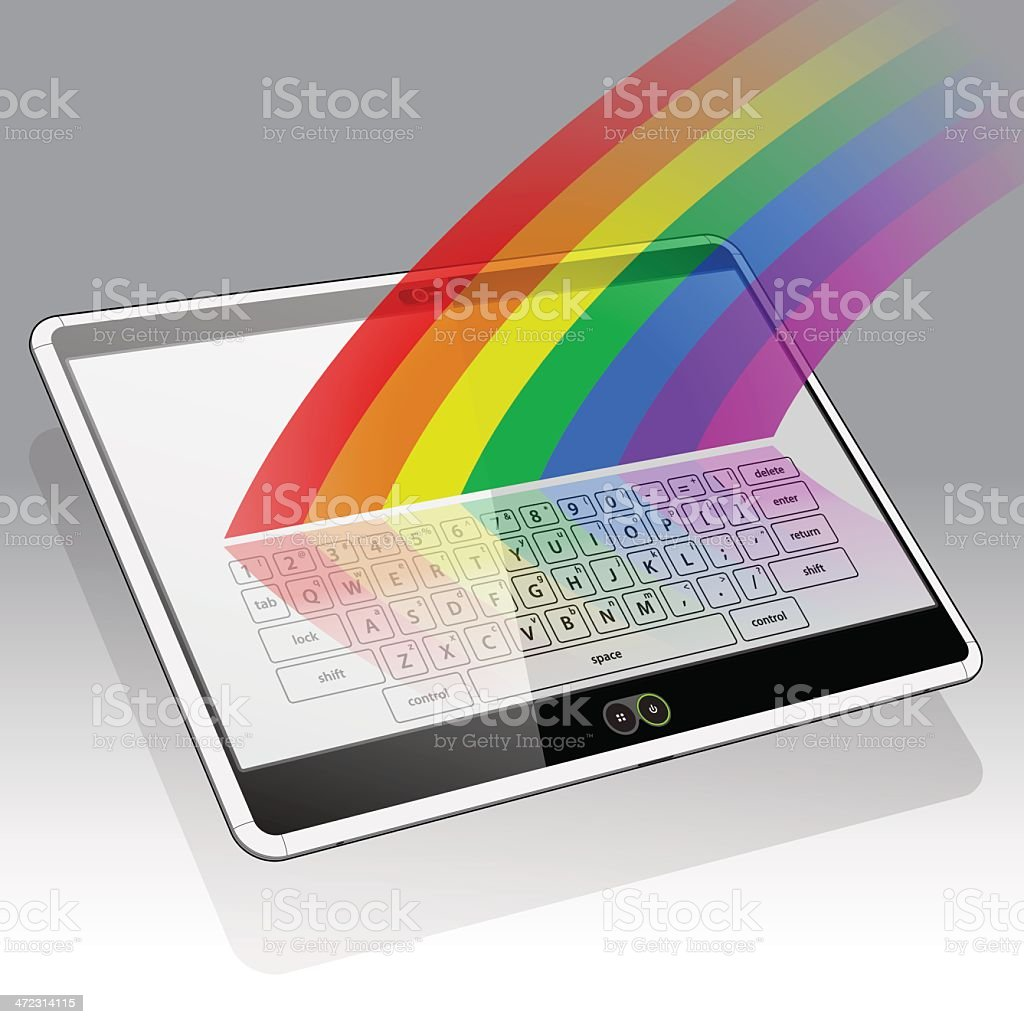 Tablet PC, Keypad and a Rainbow royalty-free stock vector art