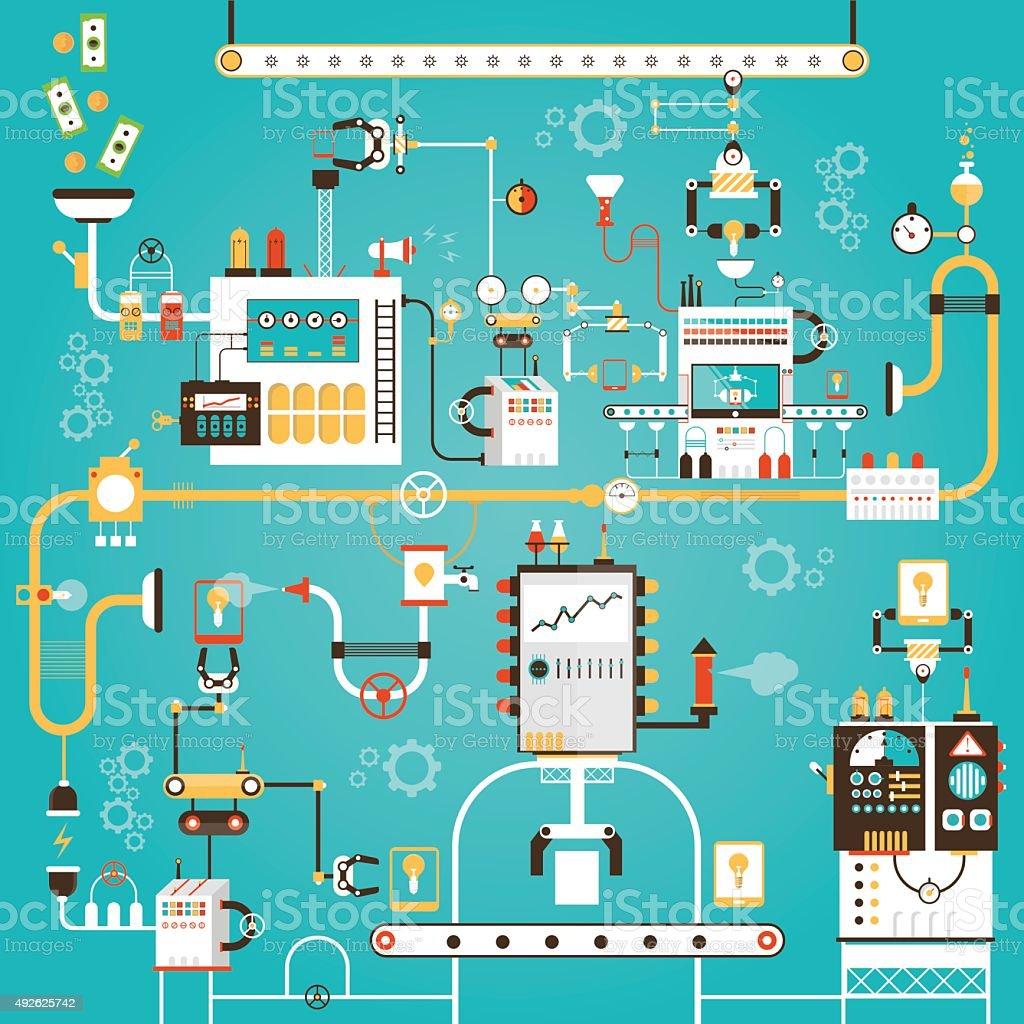 Tablet pc manufacturing vector art illustration