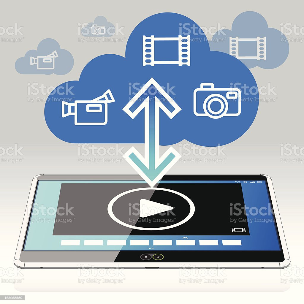 Tablet PC - Movies in the Data Cloud royalty-free stock vector art