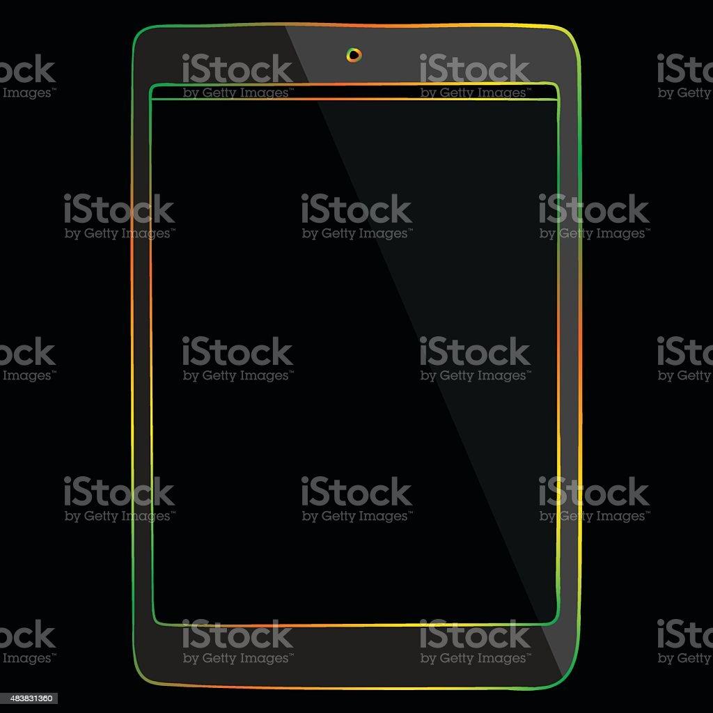 Tablet PC Multicolored Icon. vector art illustration