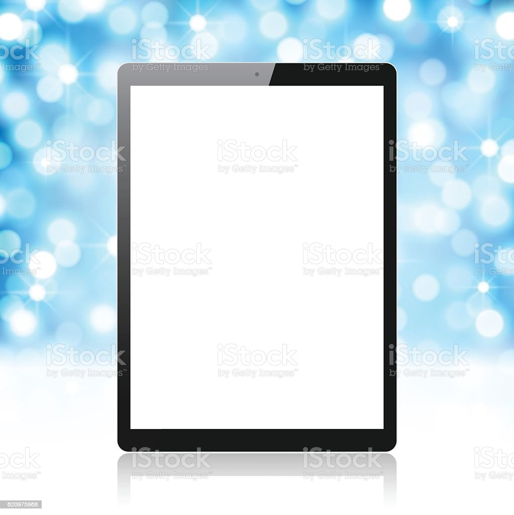 Tablet Pc on blue and shiny background, Digital Tablet Template vector art illustration