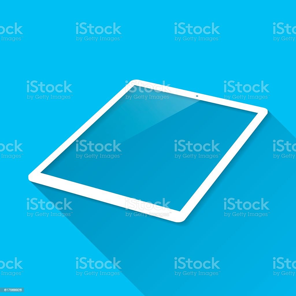 Tablet Pc on Blue Background, Long Shadow, Flat Design vector art illustration