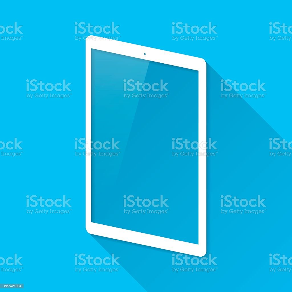Tablet Pc on Blue Background, Long Shadow, Flat Design vector art illustration