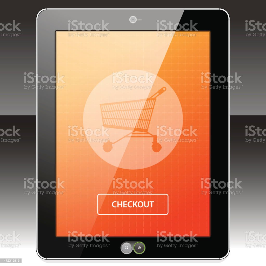 Tablet PC Online Shopping and Checkout royalty-free stock vector art