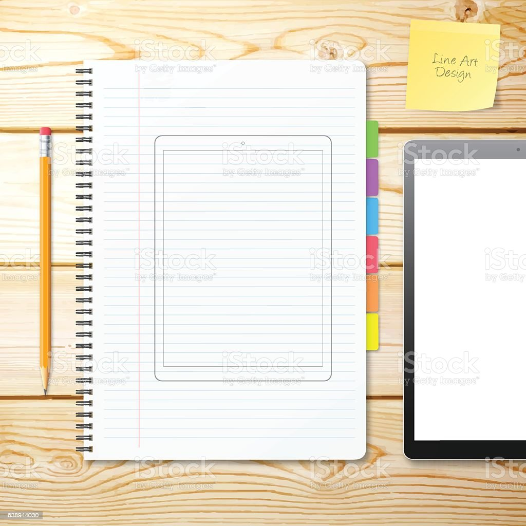Tablet Pc Outline Template draw on Notebook with Wooden Background vector art illustration
