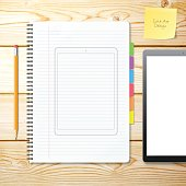 Tablet Pc Outline Template draw on Notebook with Wooden Background