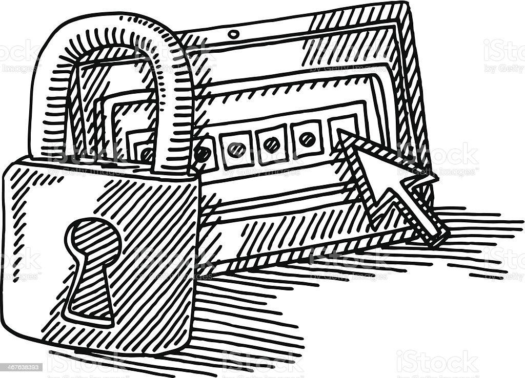 tablette pc cadenas dessin la s curit de votre mot de passe stock vecteur libres de droits. Black Bedroom Furniture Sets. Home Design Ideas