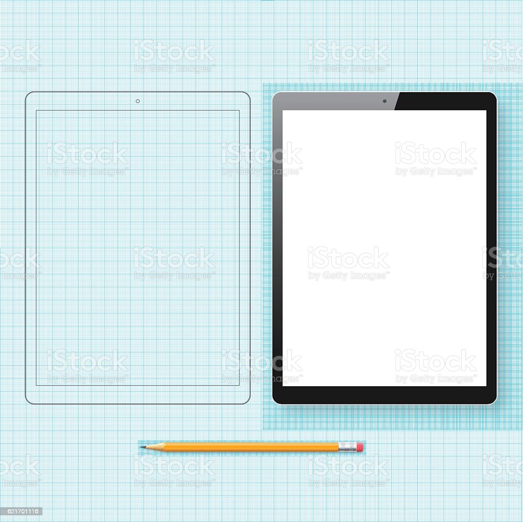 Tablet Pc template and outline drawing isolated on Graph Paper vector art illustration