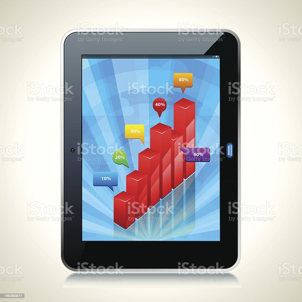 Tablet PC with 3d glossy bar graph vector art illustration