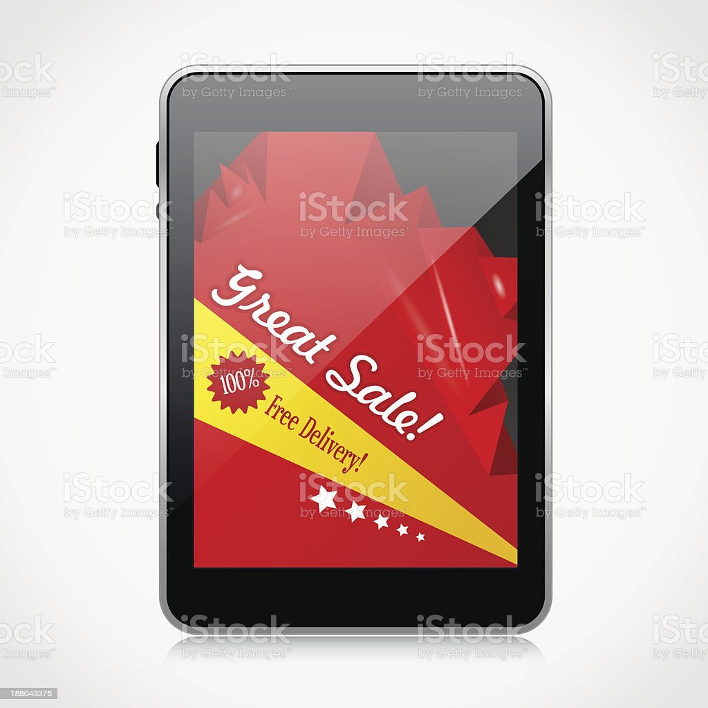 Tablet PC with advertising banner royalty-free stock vector art