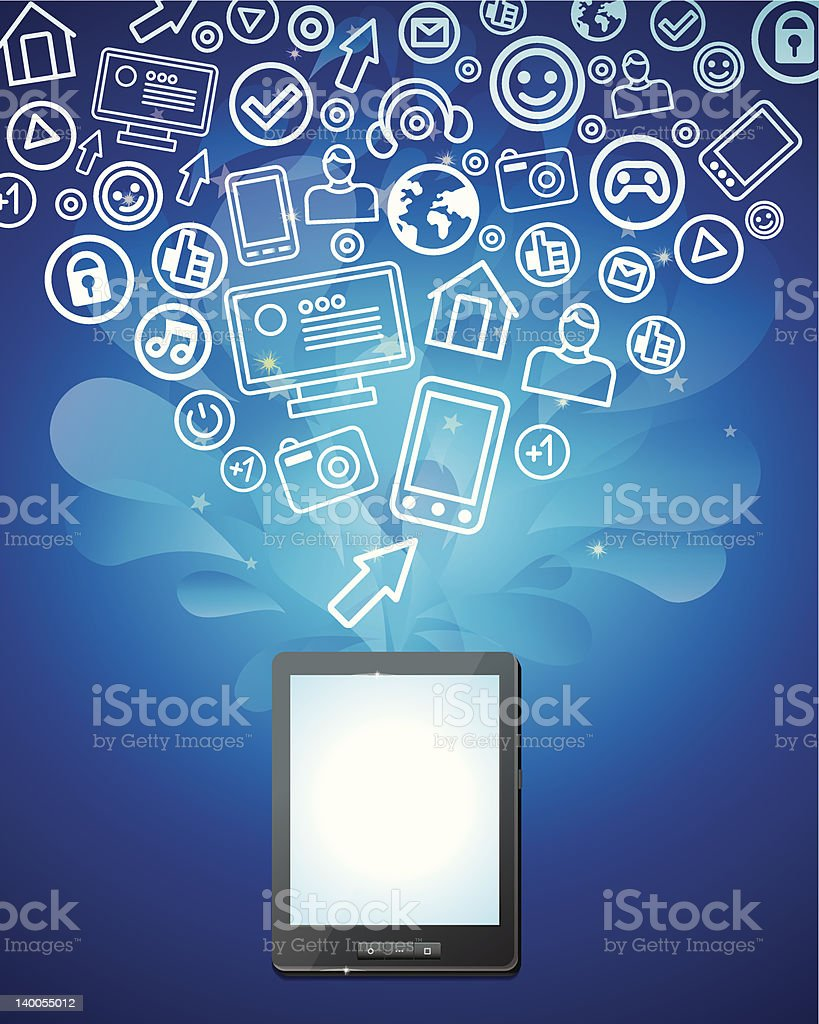 tablet pc with bright social media icons royalty-free stock vector art