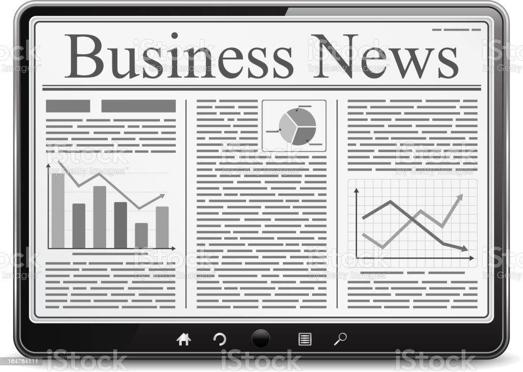 Tablet PC with Business News vector art illustration